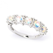 Sterling Silver 1.60cttw Opalescent Topaz Five Stone Band Ring
