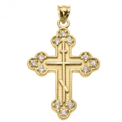 14k Yellow Gold Diamond Eastern Orthodox Cross Pendant