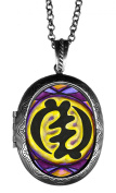 Adinkra Gye Nyame of the Supremacy of God Huge Solid Perfume Locket Pendant Antique Silver