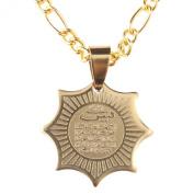 Engraved Gold Pt Yasin Yaseen Quran Necklace Islamic Chain Islam Allah Muslim