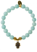 EvaDane Natural Semi Precious Amazonite Gemstone Tibetan Bead Hamsa Charm Stretch Bracelet