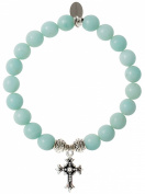 EvaDane Natural Semi Precious Amazonite Gemstone Tibetan Bead Cross Charm Stretch Bracelet