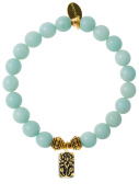 EvaDane Natural Semi Precious Amazonite Gemstone Rope Bead Lotus Charm Stretch Bracelet