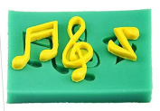Musical Notes 3 Cavities Green Silicone Mould for Fondant, Chocolate, Crafts