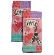 """2 Pk """"Love"""" Paris Eiffel Tower Plush Kitchen Towels- 41cm X 70cm"""