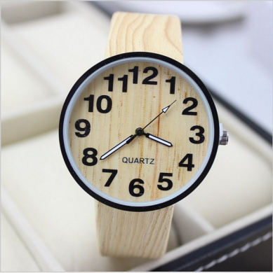 New Fashion Brand Bamboo Wood Wooden Womens Watch  Leather Strap