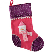 WeRChristmas 48 cm Stocking with 3D Snowman Head Christmas Decoration, Hot Pink/ Purple