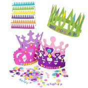 12 Princess Foam Tiara Craft Kits + 12 King Foam Crown Craft Kits - Great fun for kids birthday party.