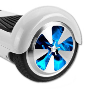 MightySkins Protective Vinyl Skin Decal for Hoverboard Balance Board Scooter Wheels mini board unicycle bluetooth wrap cover sticker Blue Flames