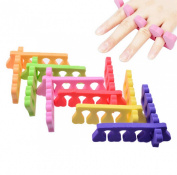 Pedicure Toe Separators - Durable, Soft Foam Divides and Cushions Toes, 20PCS(10 pairs) , Assorted Random Colours