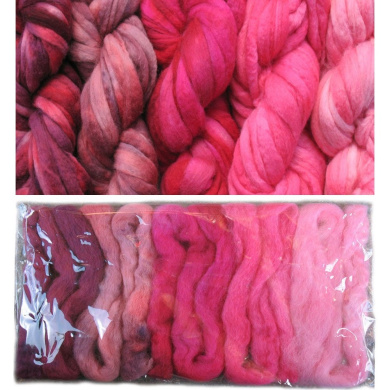 Living Dreams Pinks Colour Sampler, Hand Dyed Felting Wool Roving Fibre for Needle -, Soap - and Wet Felting, 5 Colours