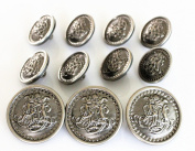 YCEE Premium New 11 Piece Vintage Antique Dark Silver Lightweight Metal Blazer Button Set - King's Crowned, Vine Crest - For Blazer, Suits, Sport Coat, Uniform, Jacket