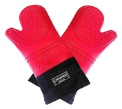 ChefzPros Silicone Cooking Gloves - Premium Quality Heat Resistant Oven Mitts (Pair). Extra Long With Stylish Quilted Inner. Multi-use Barbecue Gloves, Cooking Mitts, Pot Holders.