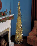 Affordable, Collapsible 170cm Lighted Christmas Trees in Gold/Silver for Small Spaces with Timer