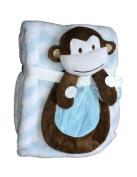 Buddies Cuddly Animal Soft Baby Blankets- Monkey Blue