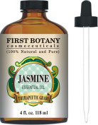 Jasmine Essential Oil 120ml With a Glass Dropper - 100% Pure and Natural with Premium Quality & Therapeutic Grade - Ideal for Aromatherapy & Maintaining Healthy Skin