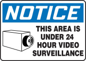"Accuform Signs MASE806VP Plastic Safety Sign, Legend ""NOTICE THIS AREA IS UNDER 24 HOUR VIDEO SURVEILLANCE"" with Graphic, 18cm Length x 25cm Width x 0.1cm Thickness, Blue/Black on White"
