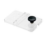 Server Products 87253 Mini Station Accessory, Centre Hinged Lid, Clear, 1/9-Size, Black/Stainless Steel