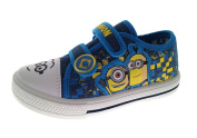Boys Kids Offical Despicable Me Minions Canvas Pumps Plimsolls Trainers Hook and loop Shoes Size UK 6-12