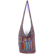 Caravan Soft chenille stripe sling shoulder bag -