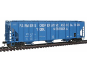 WalthersProto - 17m Evans 140cbm 3-Bay Covered Hopper - Farmer's Coop Association USLX #26247 - Blue with White Billboard Lettering - Ready To Run - HO Scale