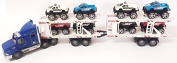 Friction Powered Super Tractor Trailer Auto Carrier With 8 Monster Jeeps Toy For Kids