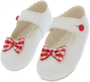 B614 BABY GIRL SHOES | Soft Sole Babies First Pram Shoes From 0-3 Months | Pink Red White