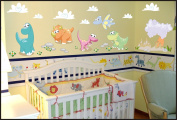 Dino Baby Dinosaurs Volcano Stickers Kids Children Room Wall Stickers Decal Wall Art 929