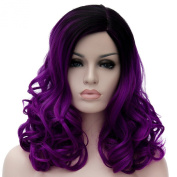 Women Gradient Side Haircut Curly Wave Medium Long Cosplay Party Ladies Wigs