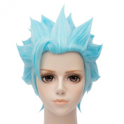 Fox's Sin Of Greed Hot Light Blue Anime Cosplay Full Hair Wigs Short Party