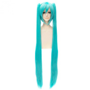 Hatsune Miku Women Anime Party Cosplay Side Double Ponytail Long Straight Wigs