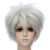 Fashion Silver Anime Cosplay Short Haircut Womens Curly Full Synthetic Wigs