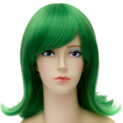 Inside Out Disgust Cosplay Green Wigs Women Straight Hair End Wave Curly Anime