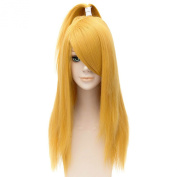 Naruto Deidara Golden Straight Long Wigs Women Party Cosplay Swept Full Hair