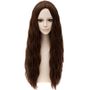 Scarlet Witch Central Parting Haircut Women Cosplay Brown Long Wavy Curly Wigs