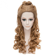 Women Cosplay Cinderella Anime Curly Wavy Long Full Hair Brown Costume Wigs