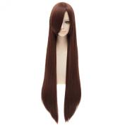 Women Party Wigs Red Brown Straight Long Side-Swept Fringe Cosplay Anime Wig