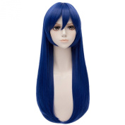 Women's Wigs Black/Blue Long Anime Cosplay Full Wigs Straight Haircut Resistant