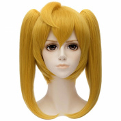 Yellow Hair Wigs Women Long Double Ponytail Full Cosplay Anime Party Short Wig
