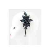 Navy Blue Black Beaded Fascinator Headpiece 1920s 40s Flapper Headband Vtg T68 *EXCLUSIVELY SOLD BY STARCROSSED BEAUTY*