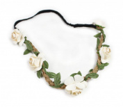 Fashionwu Boho Style Floral Flower Women Hairband Festival Party Wedding Headband Beige by Fashionwu