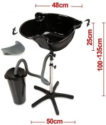 Hairdressers Portable Salon Tilting Black Backwash Basin Bowl Stand with Drainage Tank and Free Gel Neck Rest - Hair Barber Salon Clinic Surgery Training