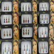 Banithani Pack Of 12 Multicolour Bindi Indian Women Self Adhesive Sticker Tattoo Accessory