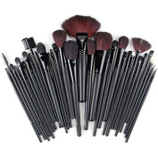 DRQ Makeup Brushes 32 Pcs Black Rod Super Professional Brush Set Kit with Black PU Leather Pouch ,32 Count for For Eye Shadow, Blush, Concealer, Etc (White Edge) by DRQ