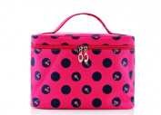 SAMGU Girls Cherry Polka Dots Pattern Big Travel Cosmetic Makeup Bag Toiletry Wash Bag Colour rose Red