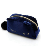 SAMGU Fashion Cartoon Cosmetic Makeup Cartoon Cat Storage Bags Pen Pencil Pouch Colour Blue