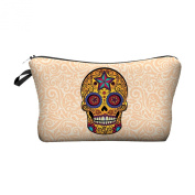Travel Cosmetics Makeup Toiletry Bags Ladies Womens Beauty Holder Wash Handbag Storage Carry Case Portable Box Gift Pink Skull