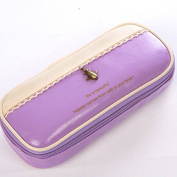 Large PU Leather Pouch Zipper Pen Pencil Case Cosmetic Make Up Brush Bag
