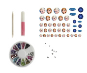 High quality nail art decal stickers with Diamonte Rhinestones, nail glue and cuticle pusher - Frozen Anna and Elsa