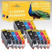 15 Compatible Printer Cartridges for Canon Pixma MP 628/MP 630/MP 640 PGI 520/CLI 521